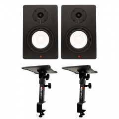 Studiospares SN5A Pair + Desk Clamp Monitor Stands