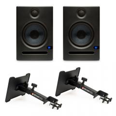 Presonus Eris E5 Monitors with Desk Clamp Stands