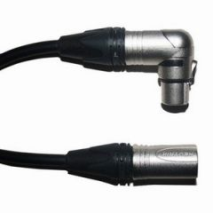 Pro Neutrik XLR Male - Angled XLR Female Lead 1m