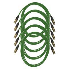 Pro Neutrik XLR Cables 5m Green (5 Pack)