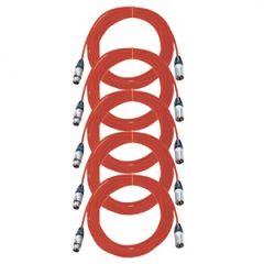 Pro Neutrik XLR Cables 10m Red 5-Pack