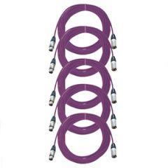 Pro Neutrik XLR Cables 10m Violet 5-Pack