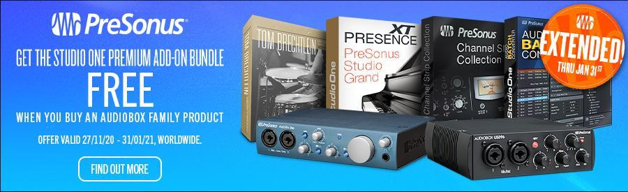 Get Studio One Premium Add-On Bundle for Free with the purchase of a PreSonus AudioBox product