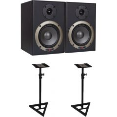 Studiospares Seiwin 5A Studio Monitors + Monitor Stands