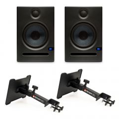 Presonus Eris E5 Monitors with Desk Clamp Stands