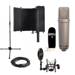 Rode NT1A + Reflection Filter Black + Mic Stand (No Boom)