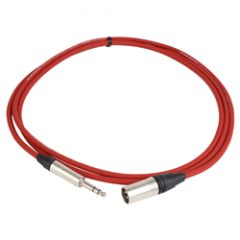 Pro Neutrik XLR Male - Balanced Jack Lead 2.5m Red