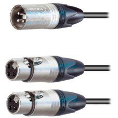 Pro Neutrik XLR Male – 2x XLR Female Splitter 2m
