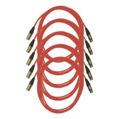 Pro Neutrik XLR Cables 5m Red (5 Pack)