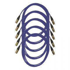 Pro Neutrik XLR Cables 5m Blue (5 Pack)