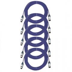 Pro Neutrik XLR Cables 10m Blue 5-Pack