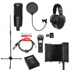 Voiceover and Podcasting Kit with Audio Technica AT2020 - Reflection Filter Black