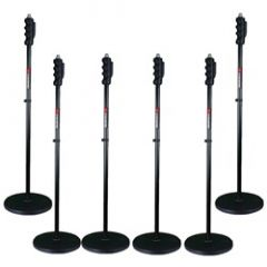 Studiospares Pro One Hand Round Base 6-Pack Mic Stands