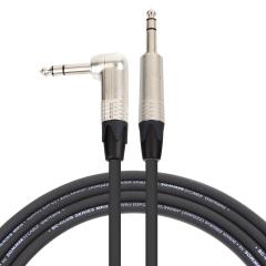 Pro Neutrik Balanced / Stereo Jack – Angled Jack Lead 1m Black