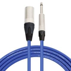 Pro Neutrik XLR Male - Mono Jack Lead 1m Blue